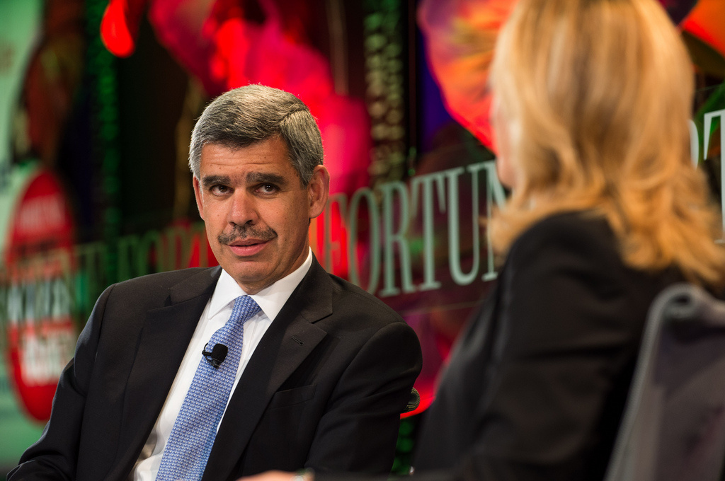 Mohamed El-Erian, shown in this photo being interviewed by Fortune's Nina Easton, will be stepping down as CEO at Pacific Investment Management Co.