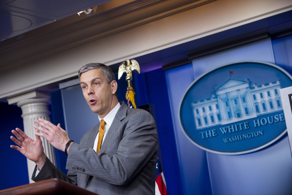 US Secretary of Education Arne Duncan speaks at the Daily Press Briefing in the Brady Press Briefing Room at the White House in Washington, DC, on April 20, 2012.