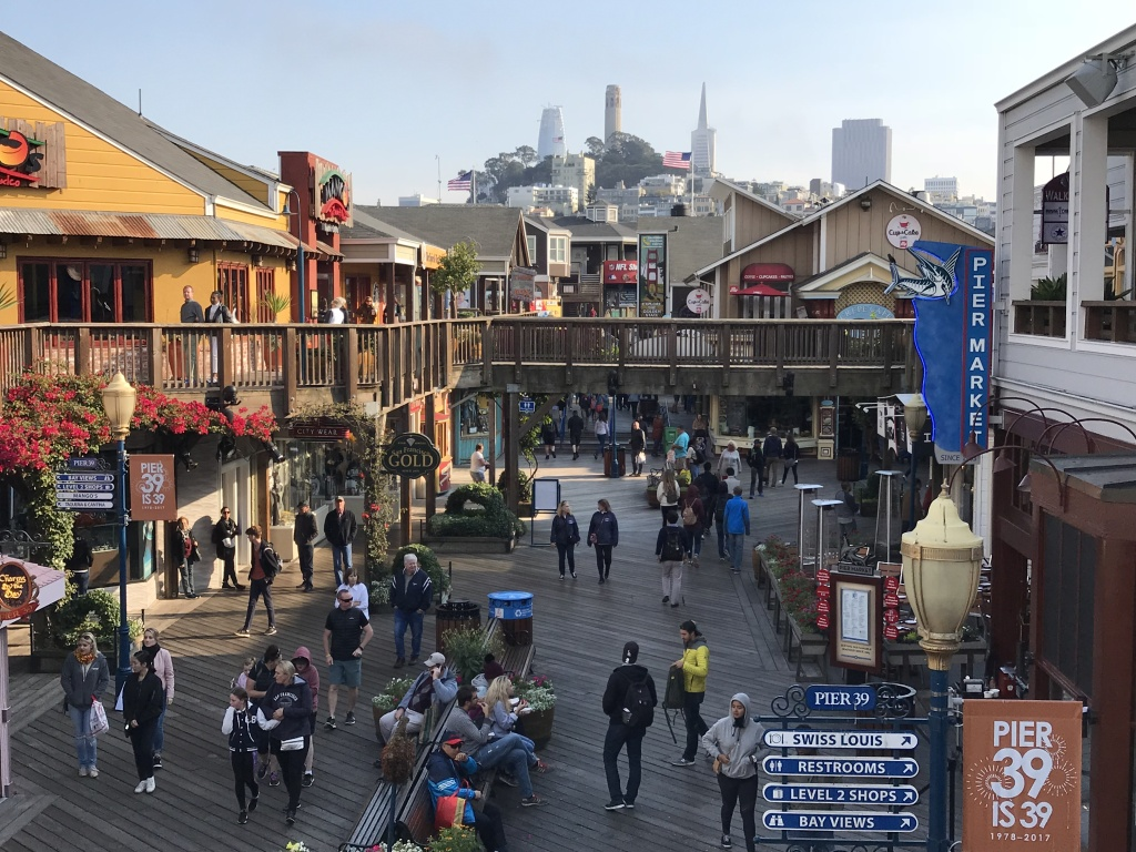 coit tower transamerica pyramid are seen from pier 39 at san francisco fisherman wharf on