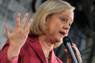 File Photo: California republican gubernatorial candidate Meg Whitman speaks to workers at Graniterock May 28, 2010 in Redwood City, California.