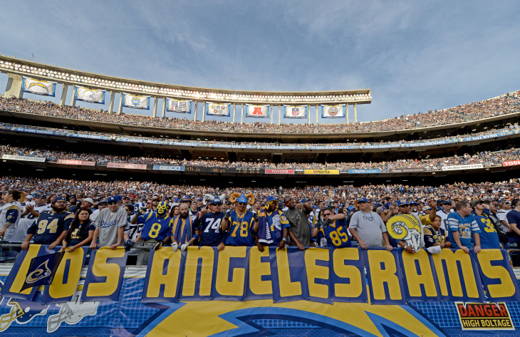 File: Fans of the St. Louis Rams hold a