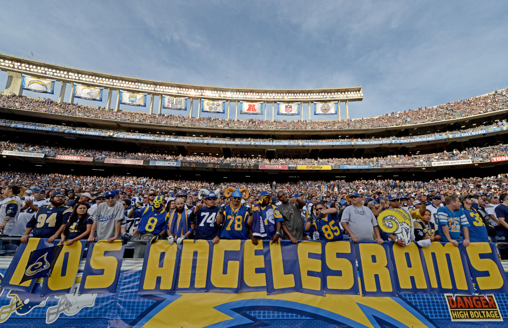 SAN DIEGO, CA - NOVEMBER 23:   Fans of the St. Louis Rams hold a