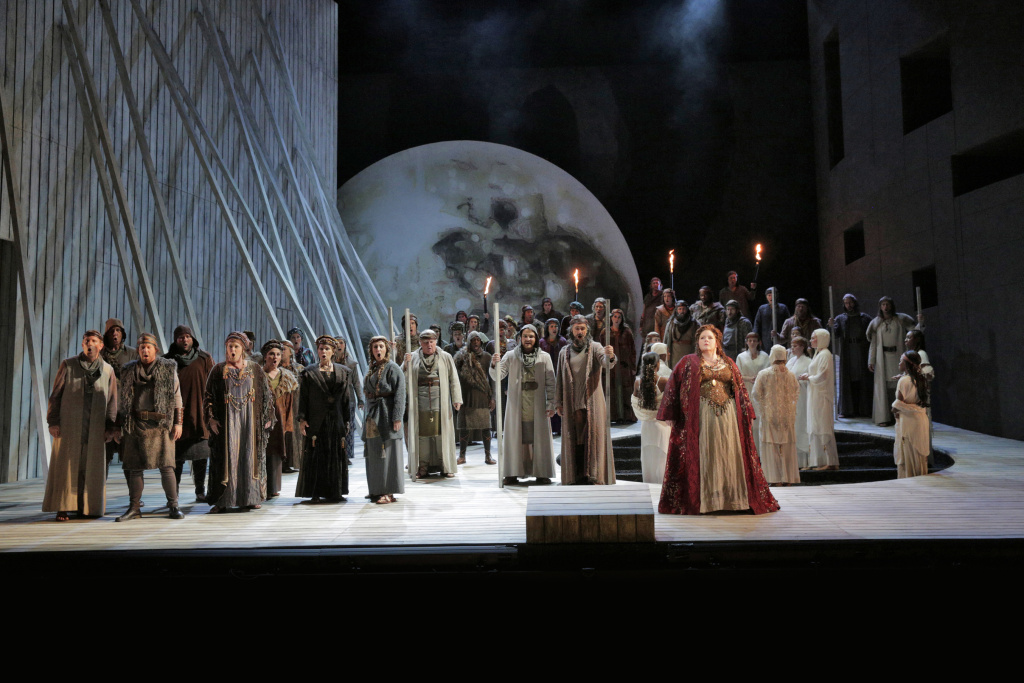 "Angela Meade (at right) in the title role of LA Opera's 2015 production of ""Norma"" (Photo courtesy LA Opera)."