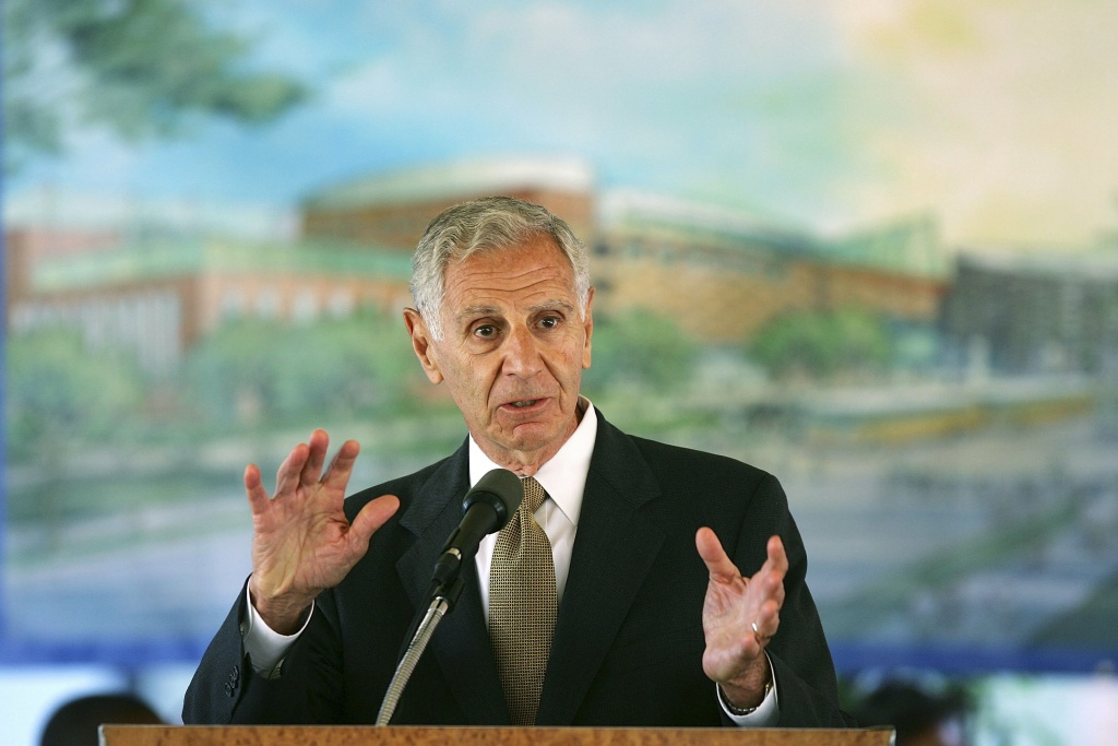Former California Gov. George Deukmejian speaks during a groundbreaking ceremony for the California Science Center's World of Ecology Oct. 2, 2006 in Los Angeles.