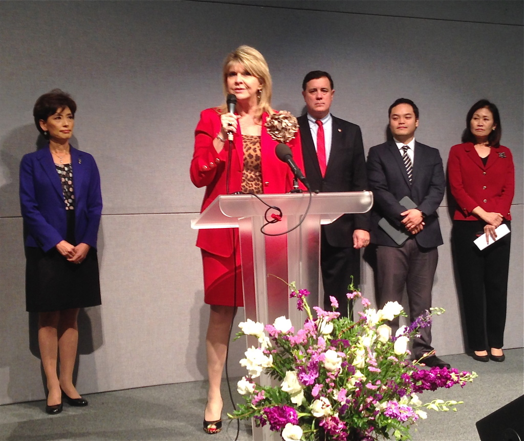 Sharon Day, co-chair of the Republican National Committee, addresses Asian-American Republicans at the Grace Ministries church in Fullerton.