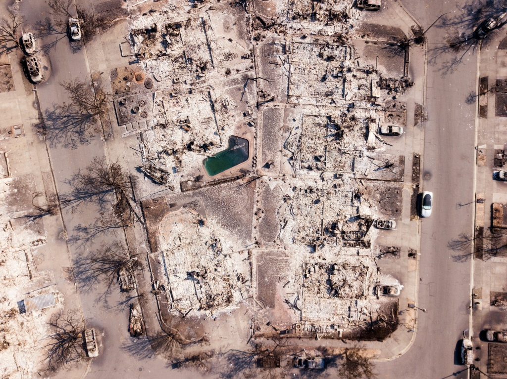 Fire damage is seen from the air in the Coffey Park neighborhood of Santa Rosa, California on October 11, 2017.