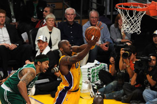 Kobe Bryant #24 of the Los Angeles Lakers goes up for a shot against Rasheed Wallace #30 of the Boston Celtics in Game Six of the 2010 NBA Finals at Staples Center on June 15, 2010 in Los Angeles, California.