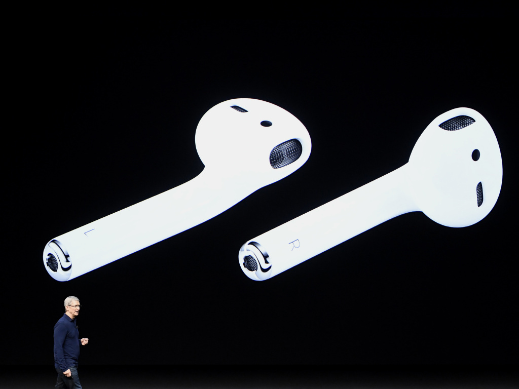 Apple CEO Tim Cook discusses the company's new wireless AirPods headphones during an event in San Francisco on Wednesday in which Apple also presented the iPhone 7.