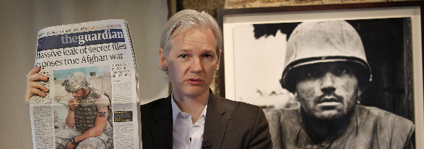 WikiLeaks founder Julian Assange, speaking at The Frontline Club, in London, following the release of more than 91,000 secret reports.
