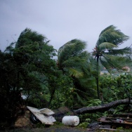Powerful winds and rains of hurricane Maria batter the city of Petit-Bourg Monday on the Caribbean island of Guadeloupe.