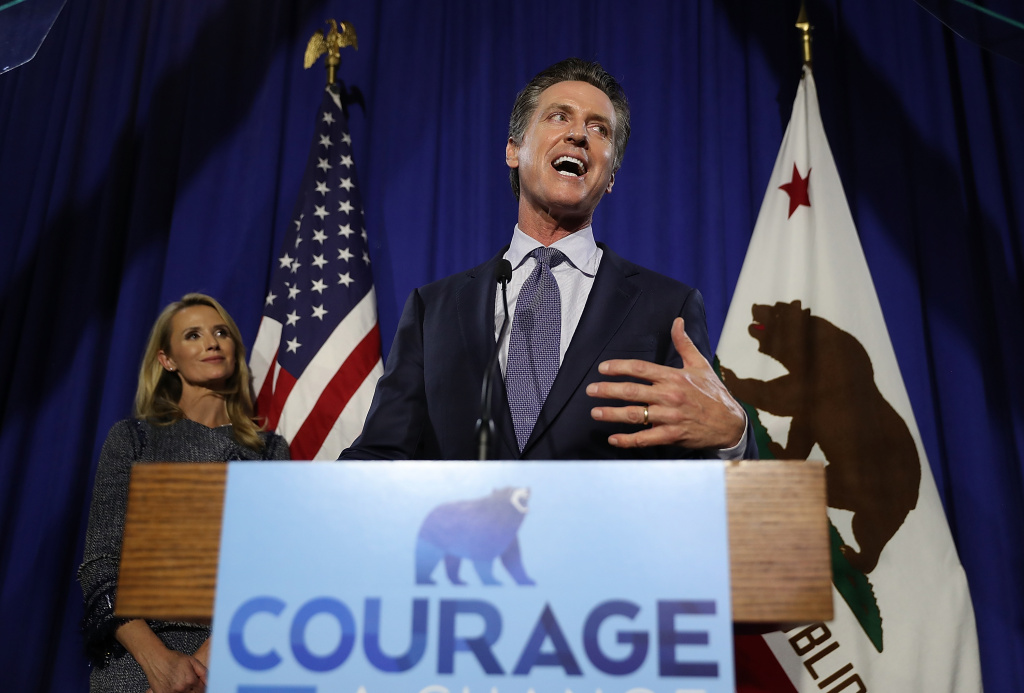 Democratic California gubernatorial candidate Lt. Gov. Gavin Newsom speaks during his primary election night gathering on June 5, 2018 in San Francisco. Newson claimed the top spot in the California gubernatorial primary election ahead of Republican candidate John Cox.