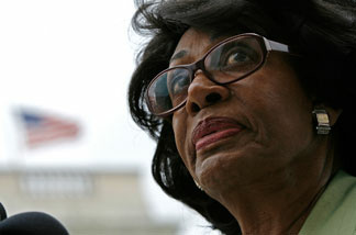 File photo: Out of Iraq Congressional Caucus co-founder and Chair Rep. Maxine Waters (D-CA) delivers comments during a news conference on Capitol Hill May 8, 2008 in Washington, DC.