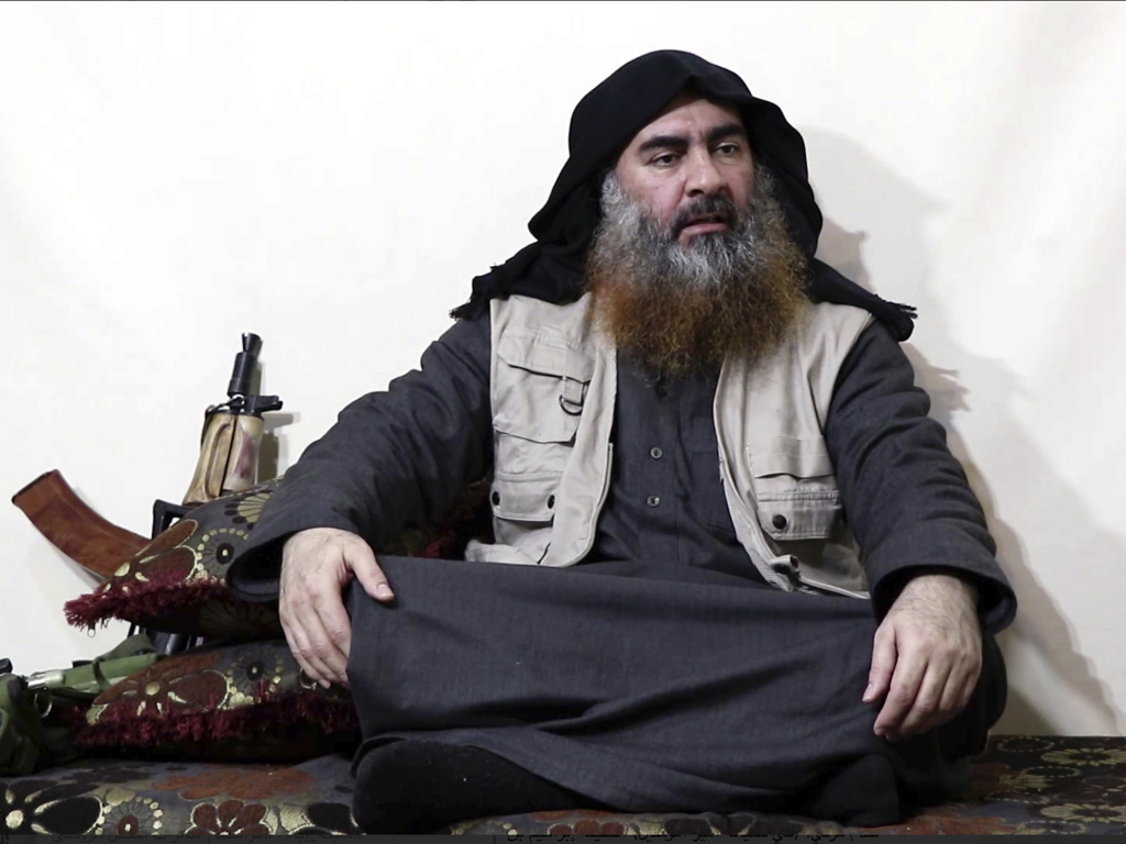 This image made from video posted on a militant website on April 29 purports to show ISIS leader Abu Bakr al-Baghdadi, being interviewed by his group's Al-Furqan media outlet.