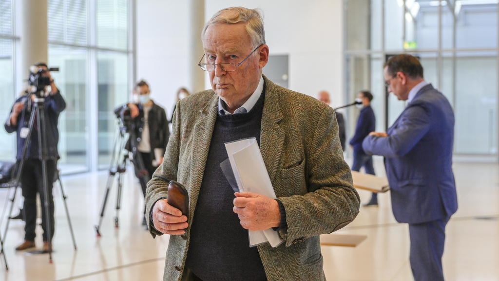 Alexander Gauland, a leader in Germany's right-wing AfD political party, leaves a news conference after discussing reports that the Office for the Protection of the Constitution has deemed his entire party under suspicion of being a threat to the constitution.