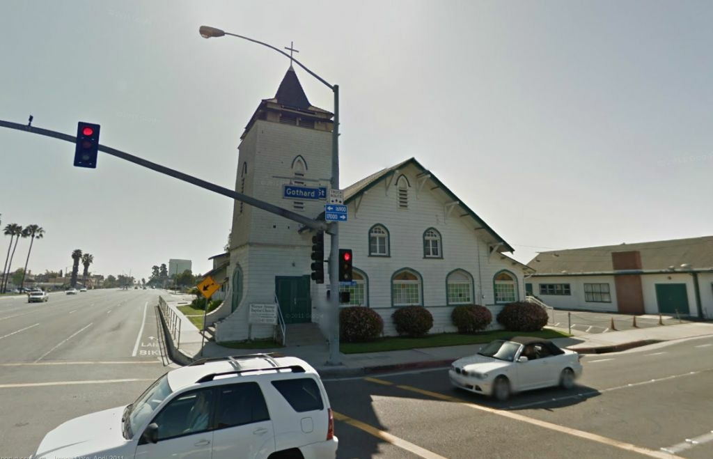 The Warren Avenue Baptist Church, located at 7360 Warner Ave. in Huntington Beach, was hit by a pickup truck on Tuesday, June 5, 2012. The structure sits close to the street and has been hit by vehicles before, according to the church's pastor.