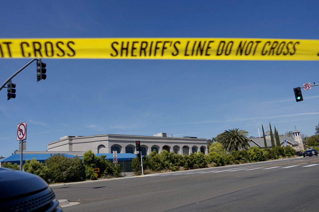 Sheriff's crime scene tape is placed in front of the Chabad of Poway Synagogue after a shooting on Saturday, April 27, 2019 in Poway, California.