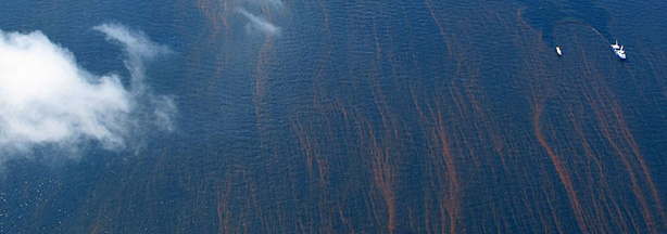 The Gulf's blue waters are streaked with reddish tendrils of oil.