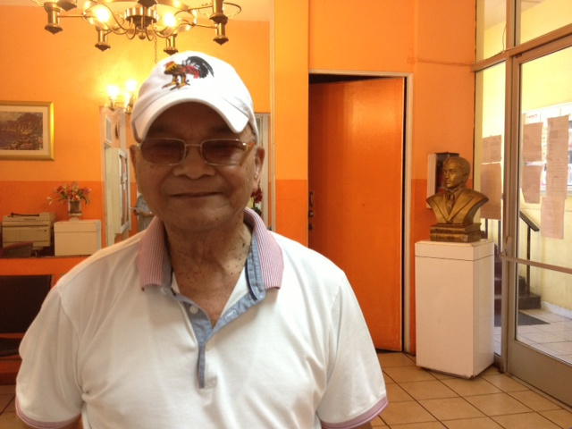 John Aspiras, Jr. visits a Filipino community center on Los Angeles' Temple Street. Aspiras, 85, was among the Filipinos who served alongside U.S. forces in the Pacific during and after World War II. He is sponsoring an adult daughter in the Philippines who has been waiting several years to join him here. A recently approved amendment to the Senate immigration bill would exempt Filipino veterans' children from long visa waits.