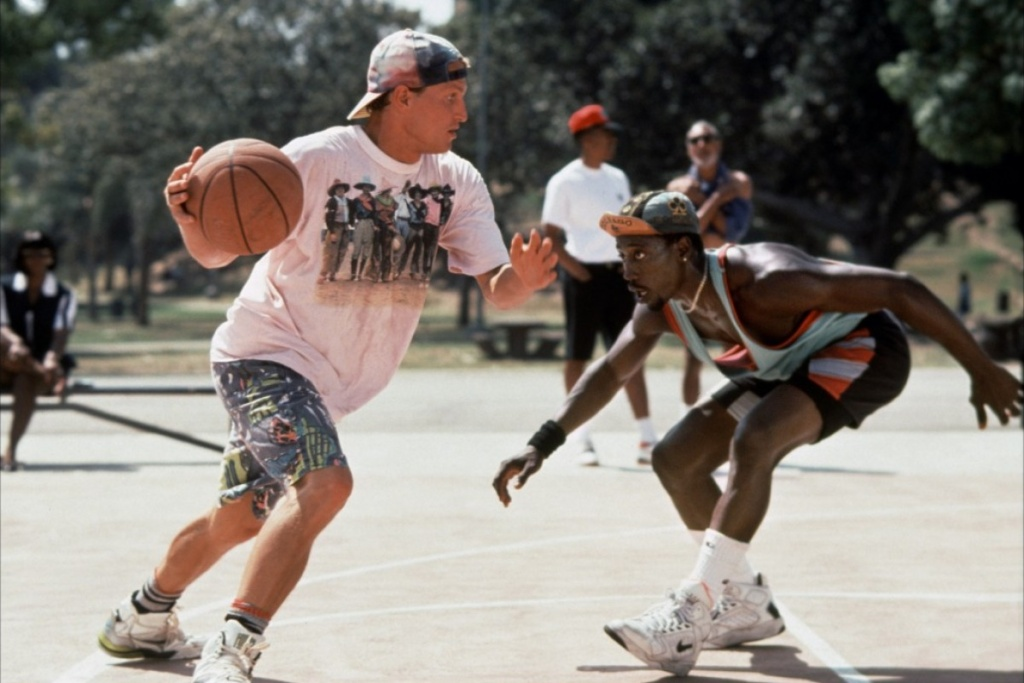 Scene from 1992's, White Men Can't Jump. The comedy follows two basketball hustlers played by Woody Harrelson and Wesley Snipes.