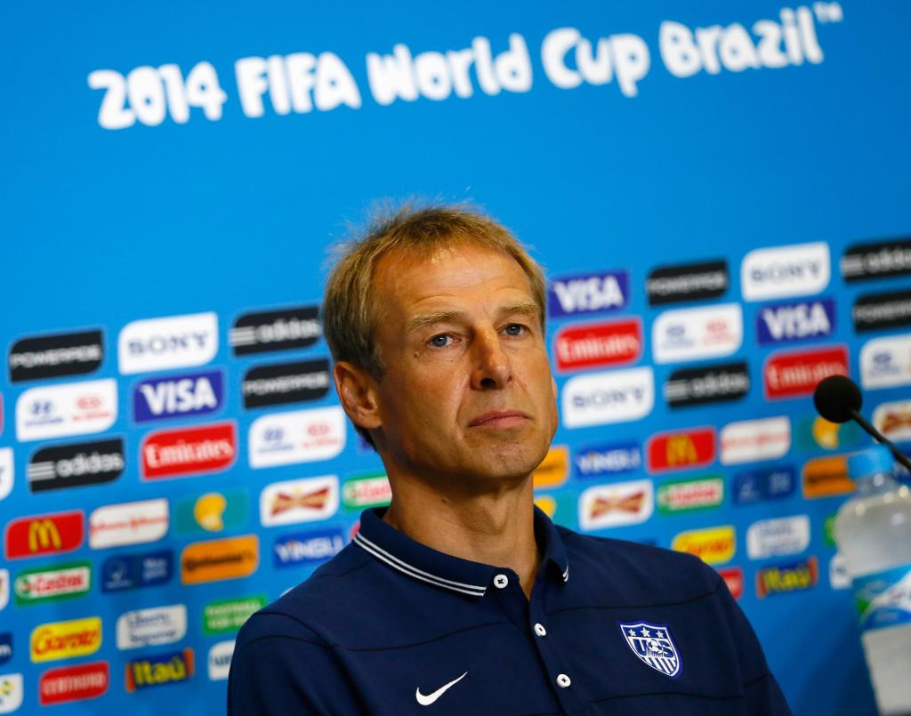 Head coach Jurgen Klinsmann of the United States speaks to the media at Estadio das Dunas on June 15, 2014 in Natal, Brazil.