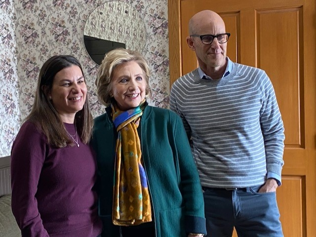 Filmmaker Nanette Burstein, Hillary Clinton and The Frame's John Horn at the Sundance Film Festival, where a four-part documentary about the former Secretary of State had its premiere.