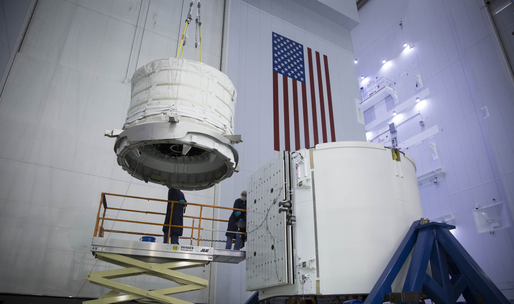 Expandable habitat from Bigelow Aerospace being lifted into Dragon's trunk for a ride to the space station.