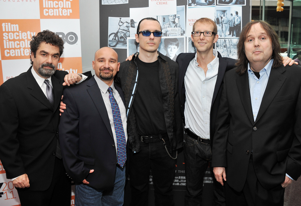 Co-director Joe Berlinger, film subject Jessie Misskelley jr., film subject Damien Echols, film subject Jason Baldwin, and co-director Bruce Sinofsky attend the HBO documentary screening of