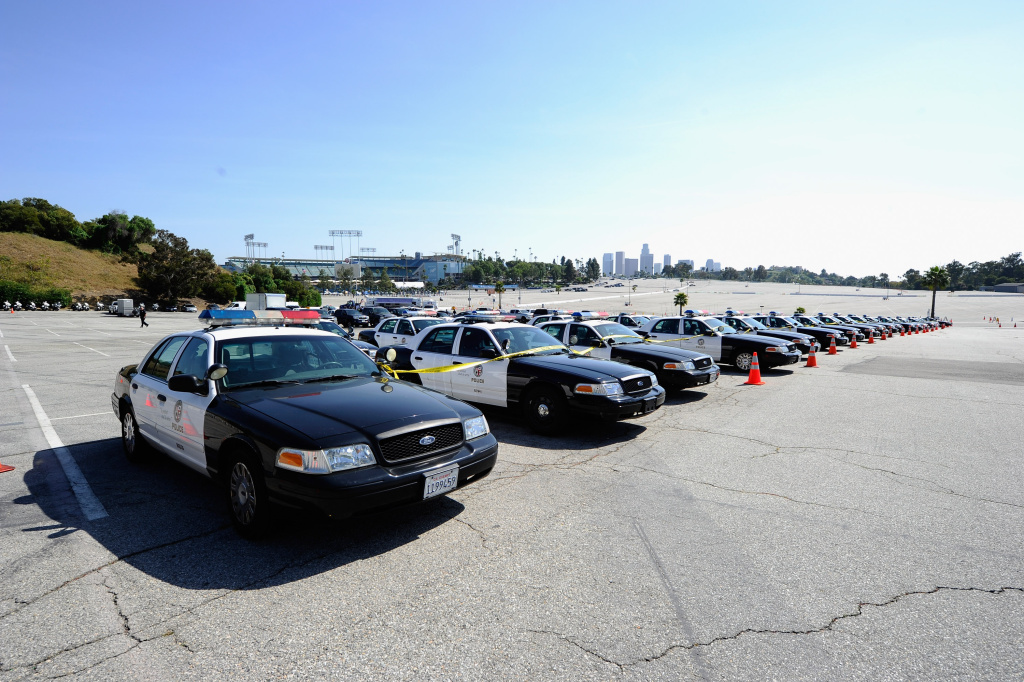 LOS ANGELES, CA - APRIL 14:  Los Angeles Police Department patrol cars are deployed at Dodger Stadium prior to the start of a game between the St. Louis Cardinals and the Los Angeles Dodgers on April 14, 2011 (Photo by Kevork Djansezian/Getty Images)
