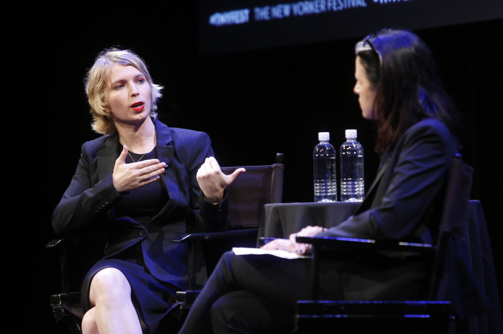 Chelsea Manning and Larissa MacFarquhar at the 2017 New Yorker Festival on September 8, 2017 in New York City.