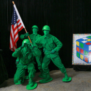"Three toys — green army men, the Rubik's Cube, and bubbles — were inducted to the Toy Hall of Fame Thursday, in a ceremony that included ""Bubble Man"" Doug Rougeux."