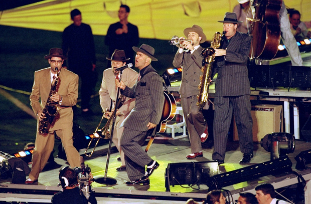 31 Jan 1999: Big Bad Voodoo Daddy performing during the half time special of the Super Bowl XXXIII Game between the Denver Broncos and the Atlanta Falcons at the Pro Player Stadium in Miami, Florida. The Broncos defeated the Falcons 34-19.