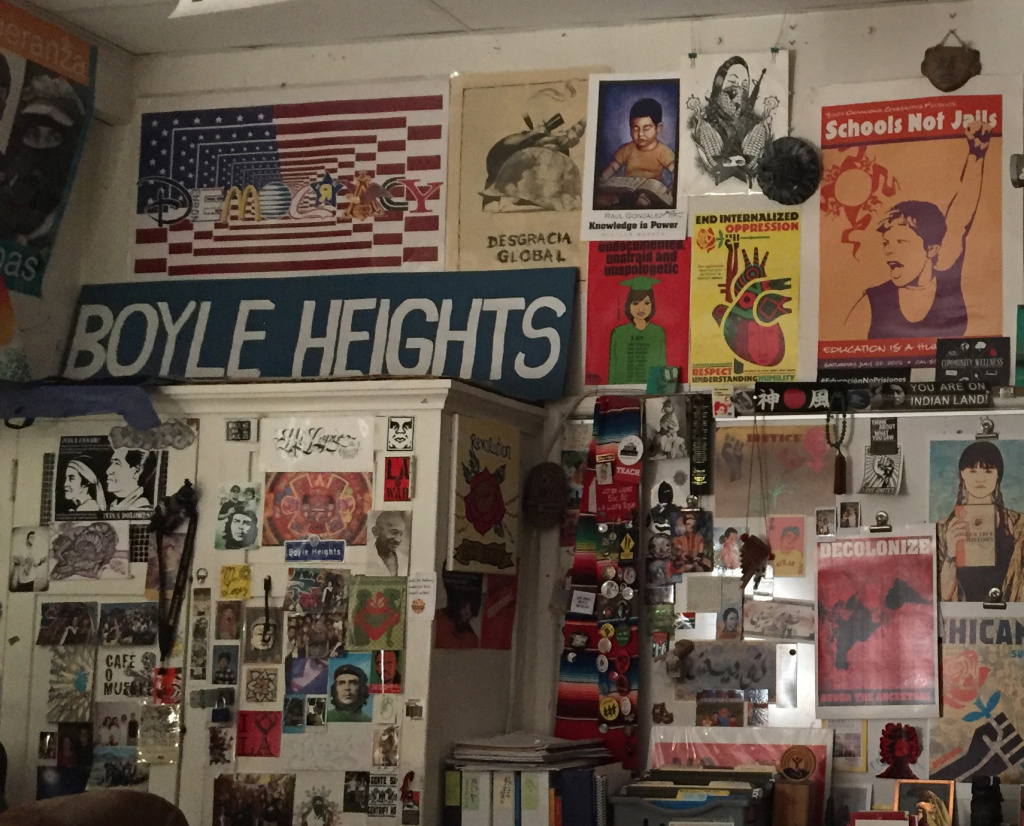 Jorge Lopez's classroom at Theodore Roosevelt High School in Boyle Heights is covered from floor to ceiling with art. On his desk, he keeps books filled with his students' creative writing.