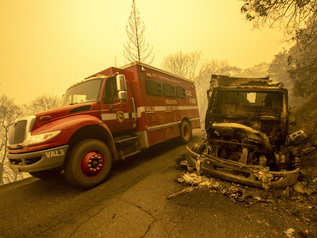 A camp crew truck was destroyed on Stringtown Rd. in a Thursday evening flare-up which burned over the truck in the Bear fire on Sept. 11, 2020 in Oroville, Calif.