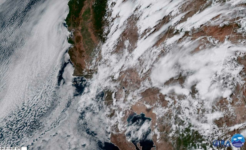 This live snapshot from an Earth-orbiting satellite shows monsoonal clouds over southern California from space at 4:30pm Monday.