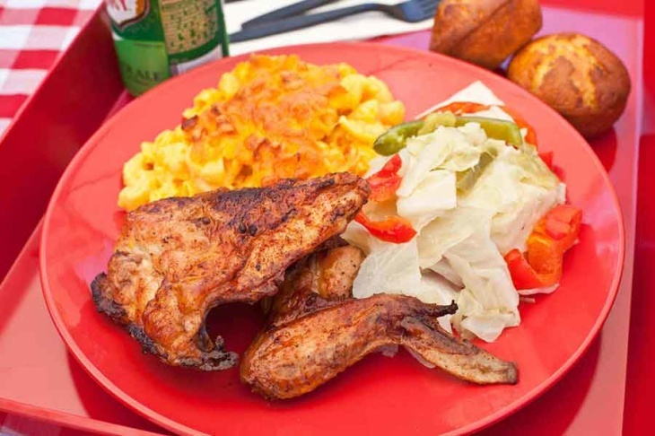 Chicken and mac and cheese at Dulan's Soul Food Kitchen in Inglewood. (Photo by Jay Connor for LAist)