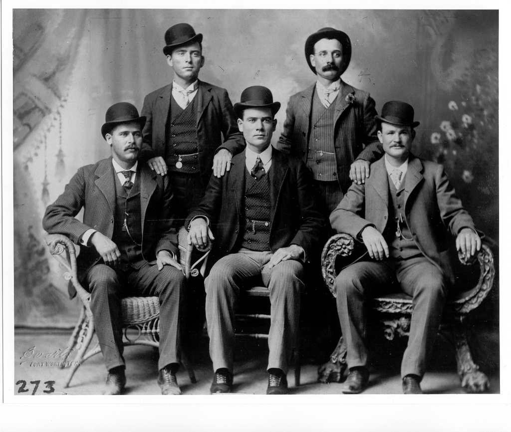 Butch Cassidy (far right) and the Wild Bunch gang. Fort Worth, Texas.