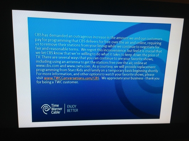 TWC CBS blackout message