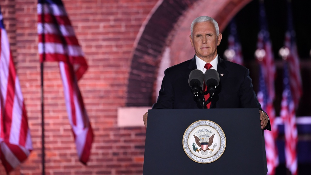 Vice President Pence speaks during the third night of the Republican National Convention at Fort McHenry National Monument in Baltimore on Wednesday.