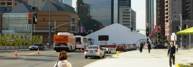 A tent crosses Grand Avenue as MOCA prepares for its 30th anniversary gala.