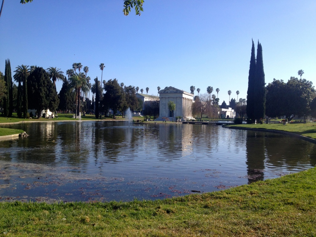 Water bills at Hollywood Forever amount to $30-50,000 a month, but not necessarily because of the reflecting lake. It's only 18 inches deep, says Tyler Cassity.