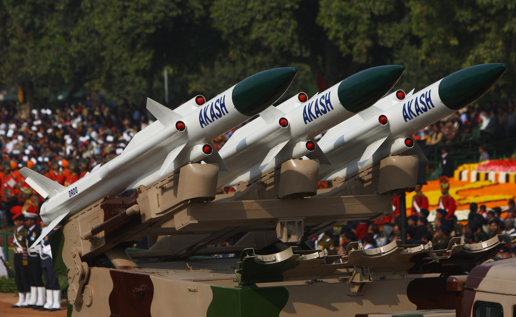 Replica missiles from the Akash Weapon System are displayed during the Republic Day Parade in New Delhi, India.