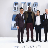 "John Cho, Idris Elba, Justin Lin, Simon Pegg and Lydia Wilson arrive for the UK premiere of ""Star Trek Beyond"" at Empire Leicester Square on July 12, 2016 in London, UK."