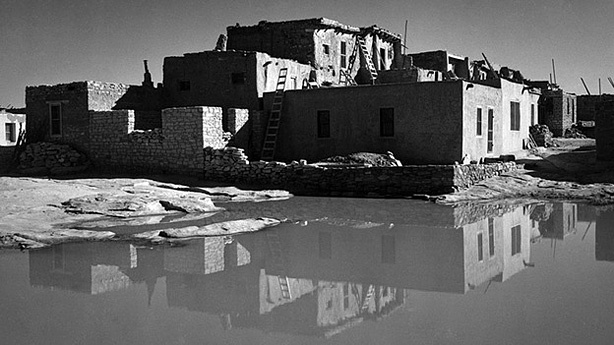 This Ansel Adams photograph of Acoma Pueblo, N.M., is among those now on display, decades after being commissioned.