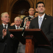 Speaker of the House Paul Ryan (R-WI) (C) delivers remarks before signing legislation to repeal the Affordable Care Act in January.