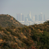 The downtown skyline stands beyond the dry Hollywood Hills in Los Angeles.