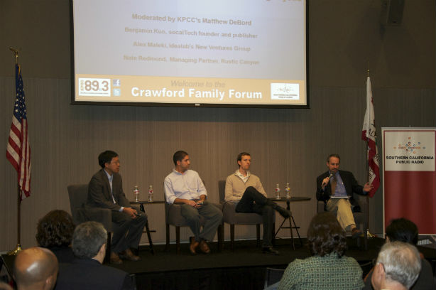 Venture Capital in Southern California panel. From right, KPCC's Matthew DeBord, Rustic Canyon Partners' Nate Redmond, Idealab's Alex Maleki, and Ben Kuo from socalTECH.