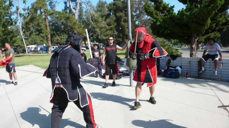 Combatants pair off during an eskrima sparring match in Los Feliz