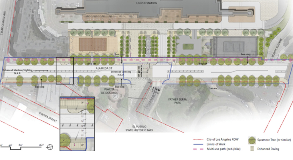 A rendering shows the proposed redesign for the front of Union Station, with a civic plaza where a parking lot is now, and a tree-lined esplanade with a biking and walking path.