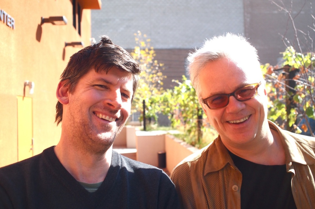 February 17, 2012, Mohn Broadcast Center. Off-Ramp host John Rabe (left) is only slightly shorter than actor and director Tim Robbins.