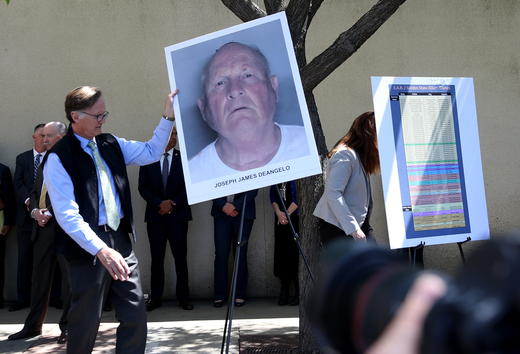 A photo of accused rapist and killer Joseph James DeAngelo, who is believed to be the the East Area Rapist, also known as the Golden State Killer, is displayed during a news conference on April 25, 2018 in Sacramento, California.